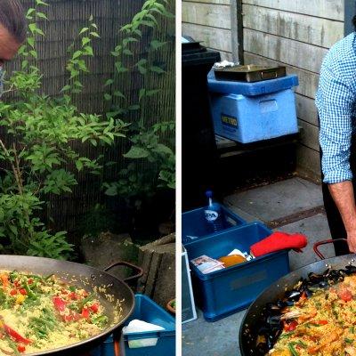 heerlijke paella, bereid door 'de Paellaman' Serge Perez
